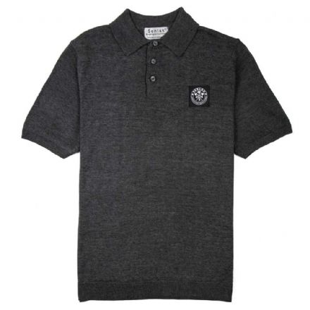 "Senlak ""Barnum"" Knitted Polo - Grey Marl"